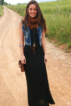 denim jacket with black maxi, would go for knee length but love the rest