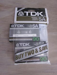 Factory Sealed TDK SA90 Cassette Tape Pack of 2 Type II High Resolution - Torn outer package.