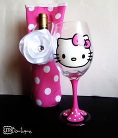 Hello Kitty Wine Glass and Wine bottle wrap <3