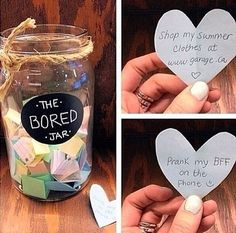 A DIY jar of fun stuff to do when bored!! Diy Room Decore For Teens, Cute Diy Crafts For Your Room, Bedroom Ideas For Teen Girls Tumblr, Cute Crafts For Teens, Diys For Your Room, Diy Room Decor Tumblr, Diy Crafts For Bedroom, Diy Crafts For Teen Girls, Diy Bedroom Decor For Teens