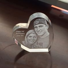 Anniversary Gift Custom engraved crystal heart paperweight with your photo Custom Gifts, Customized Gifts, Crystal Gifts, Custom Engraving, Paper Weights, Anniversary Gifts, Crystals, Heart, Prints