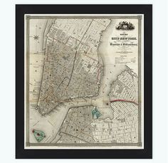 Old Map of New York an Brooklyn 1840 Manhattan Vintage Map