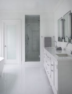 Frosted Glass Closet Doors - Design photos, ideas and inspiration. Amazing gallery of interior design and decorating ideas of Frosted Glass Closet Doors in closets, girl's rooms, bathrooms by elite interior designers. Glass Bathroom Door, Glass Closet Doors, Open Bathroom, Bathroom Layout, Sliding Glass Door, Glass Doors, Bathroom Ideas, Bathroom Closet, Bathroom Showers