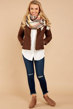 3 Feel The chill Brown Jacket at reddressboutique.com