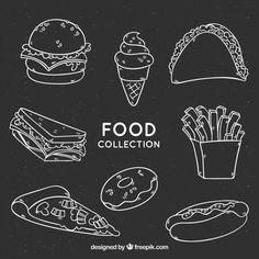 黑板风格的食物集合免费矢量 Red Burger, Burger Menu, Lettering Tutorial, Hand Lettering, Cafe Menu Design, Pit Dog, Blackboard Art, Restaurant Menu Template, Food Banner