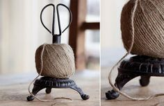 Ball of Twine on Cast Iron with Shears