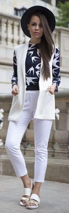 White Pants Streetstyle by JD Fashion Freak