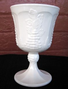 Indiana Colony Milk Glass Opaque White Harvest Grape 8 ounce Goblet #IndianaGlass