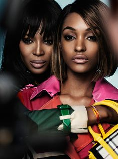 Pictured on the set of the new Burberry S/S15 campaign - British models Naomi Campbell and Jourdan Dunn