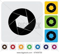 Camera Lens Shutter Blades Icon(symbol)- Simple Vector Graphic