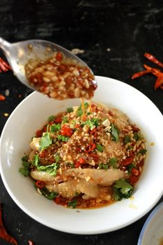 Drool-worthy Sichuan Chicken in Chili Oil Sauce (Kou Shui Ji) - The Woks of Life Chinese Chicken, Chinese Food, Asian Chicken, Asian Recipes, Healthy Recipes, Ethnic Recipes, Indonesian Recipes, Orange Recipes, Chili Oil