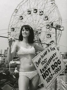 History In Pictures  Celebrating 100 years of the Hot Dog - Coney Island, 1967 Coney Island, Jean Renoir, Marion Davies, Anna Pavlova, Mary Blair, Louise Brooks, Robert Mcginnis, Carole Lombard, Norman Rockwell