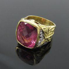 Vintage Seidengang 7ct Checkers Cut Tourmaline & 0.25ct Diamond 18K Gold…
