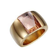 Buy Luxury Generous Fashion Big Gemstone Gold Titanium Steel Ring Wedding Jewelry at Wish - Shopping Made Fun Gold Wedding Rings, Wedding Ring Bands, Wedding Jewelry, Jewelry Rings, Jewelry Accessories, Jewellery, Wide Rings, Stainless Steel Rings, Custom Jewelry