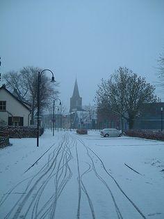 Dorpsstraat in de winter Bennekom