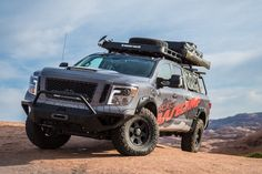 The 2017 Nissan TITAN XD Project Basecamp built for the backcountry debuts at the Overland Expo 2017 WEST in Flagstaff, Arizona. 2017 Nissan Titan Xd, 35 Inch Tires, Off Road Parts, Custom Camper Vans, Off Road Camper, Cummins Diesel, Nissan Patrol, Nissan Rogue, Expedition Vehicle