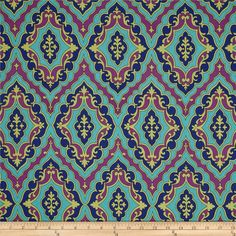 Michael Miller Daydream Girl's Best Friend Jewel from @fabricdotcom  Designed by Swirly Girl Designs for Michael Miller, this fabric is perfect for quilting, apparel and home décor accents. Colors include navy, lime, plum and black.