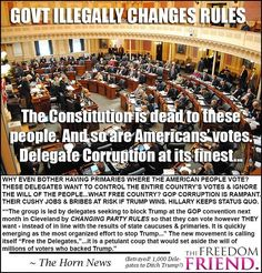 Whether you support Trump or not, government officials are going too far. Too far! This is a free republic. This is not authoritarian rule! Delegates do not get to change constitutional rules and laws at their will because they don't like who the American people have chosen. The arrogance of these people is astounding. They change the rules to suit THEM. These delegates want a thousand people to decide on the GOP candidate when millions and millions of Americans already voted for who they…
