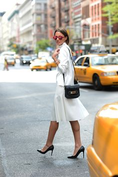 NYFW-Zara top and skirt, Louboutin shoes, Proenza Schouler bag, Marc Jacobs sunnies