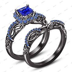 Princess Cut Blue Sapphire in 14K Black Gold FN 925 Silver Engagement Bridal Set #Affoin8