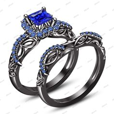 Princess Cut Blue Sapphire 14K Black Gold FN 925 Silver Engagement Bridal Set #Affoin8