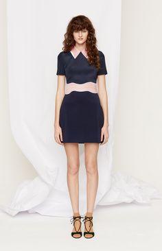 Retro-ly Suave Navy Accented with Mauve Short Dress - Roksanda Pre-Fall 2016 Fashion Show