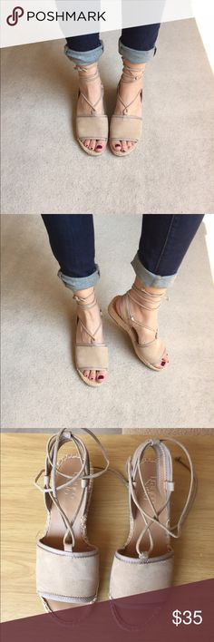 """Franco Sarto """"Liona"""" Soft Tan Espadrilles Like New! Only worn once. These espadrilles are SUPER comfy and 100% suede! Soft tan color is perfect for spring & summer! Wear them with jeans, shorts or dresses! Sz 7M but fits more like a sz 7.5 🌺 Comes with original box. Thanks for looking! Franco Sarto Shoes Espadrilles"""