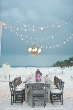 seashore dinner. beautiful setting.