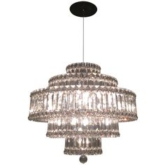 Five-Tier Faceted Crystal Chandelier