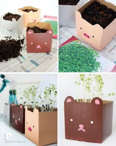 crafts for kids: Milk carton planters