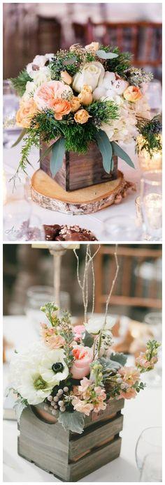 Rustic country wooden crate wedding centerpiece ideas / http://www.deerpearlflowers.com/rustic-woodsy-wedding-trend-2018-wooden-crates/ #rusticweddings #countryweddings #weddings #dpf #deerpearlflowers #centerpieces