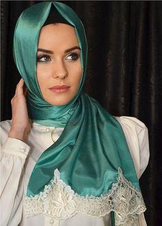 Green head scarf green hijab white lace ends by NevaStyleCanada