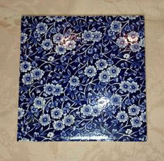 CALICO Chintz Tea TILE Trivet Staffordshire Blue by FabulousAssets, $39.95