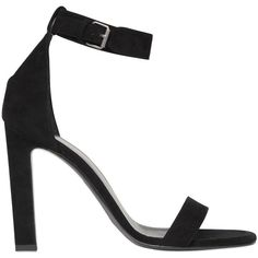 Saint Laurent Women 105mm Grace Suede Sandals (8.459.395 IDR) ❤ liked on Polyvore featuring shoes, sandals, black, black sandals, yves saint laurent, yves saint laurent shoes, high heeled footwear and black high heel shoes