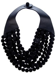 lack leather handmade 'Isabella' necklace from Rossana Fani featuring a thick neck strap with a buttoned closure and a cut-out bead strand design. See related items on Fanatic Leather Store. Leather Necklace, Diy Necklace, Leather Jewelry, Necklace Designs, Black Necklace, Jewelry Art, Jewelry Necklaces, Fashion Jewelry, Jewelry Design