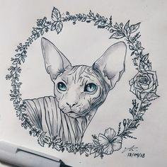 sphynx cat drawn tattoo flowers