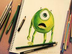 Mike Wazowski in Pencils by Karla Espiritu.