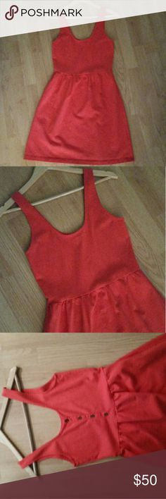 {J.Crew} Coral Villa Button Back Dress Excellent condition medium weight cotton dress. Color is a dark coral.   Dress looks new, price is firm.  Sleeveless style, fitted top with a fuller skirt. Knee length. Buttons up the back.  Size small, best for a 6 or 4.  No trades no paypal J. Crew Dresses