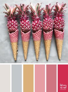 Color palette,Ice cream cone color palette - The cones with a pink twist