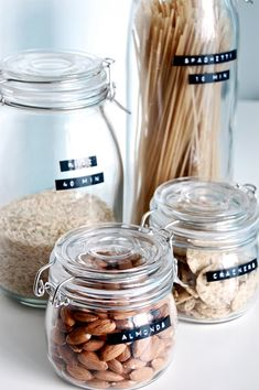 Using Dymo labels for labelling jars, and also including cooking times for things like rice and pasta. Great idea!