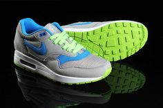 newest 1d45e 7111a Nike Air Max 1 Gris Online Hombre Zapatillas Deportivas Azul Verde, nike  fashion shoes for men