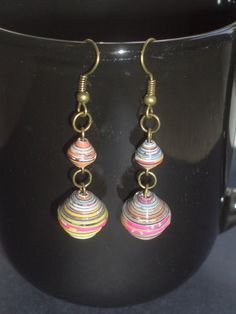 Multicolored Round Paper Bead Antique Brass Dangle Earrings