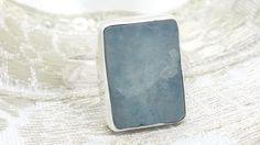 Rough Aquamarine & 925 Sterling Silver Ring Size N1/2 P1/2 R1/2 (+Gift Bag) UK