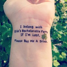 St. Patrick's Day Bachelorette Party Temporary Tattoo by EARinkFun