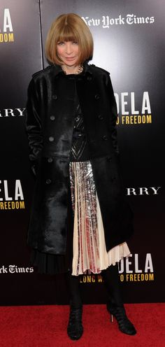 Editor in chief of Vogue Anna Wintour wearing Burberry to the screening of Mandela: Long Walk to Freedom #RaincoatsForWomenLondon