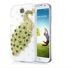 For Samsung Galaxy S4 i9500 Diamond Case Peacock Clear Back Cover Green