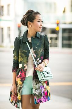 Spring Love - Wendy wearing a Floral Jacket & Mint Mini Bag.
