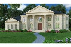 Elevation of Colonial Greek Revival Plantation House Plan 72163 Luxury House Plans, Best House Plans, House Floor Plans, Georgian Style Homes, Colonial House Plans, Colonial Mansion, Cheverny, Mountain House Plans, Monster House Plans
