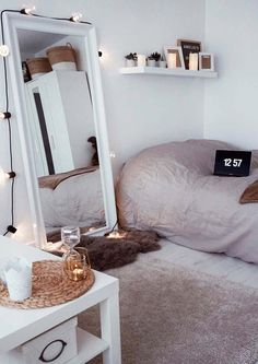 Dorm Room Decor Minimalist Minimalist Room Decor Ideas That'll Motivate You To . Dorm Room Small Bedroom Decor 3 Ways Mr Kate . 14 Dorm Room Ideas That Are Melting Our Minds RN. Home and Family Bedroom Inspo, Home Bedroom, Girls Bedroom, Trendy Bedroom, Mirror Bedroom, Modern Bedroom, Bedroom Themes, Bedroom Lighting, Design Bedroom