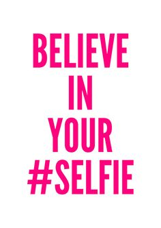 Selfie Poster Pink typography art wall decor mottos by sinansaydik